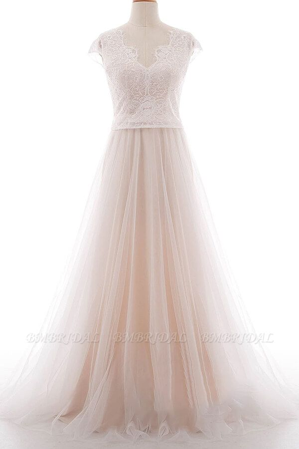 BMbridal Graceful V-neck Lace Tulle A-line Wedding Dress On Sale