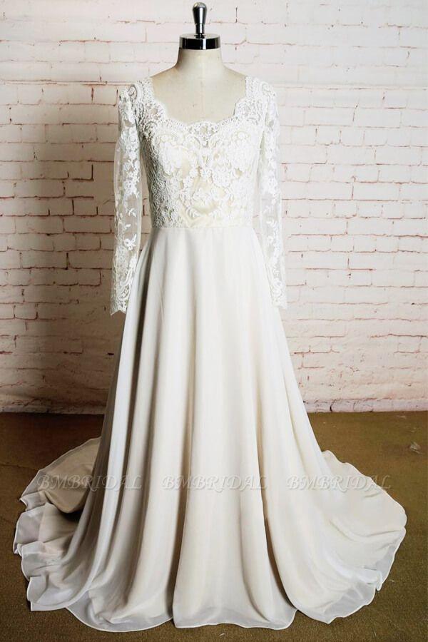 BMbridal Appliques Long Sleeve Chiffon A-line Wedding Dress On Sale