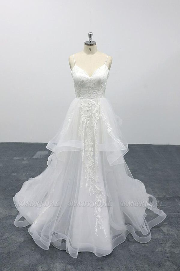 BMbridal Best Appliques Spaghetti Strap Tulle Wedding Dress On Sale