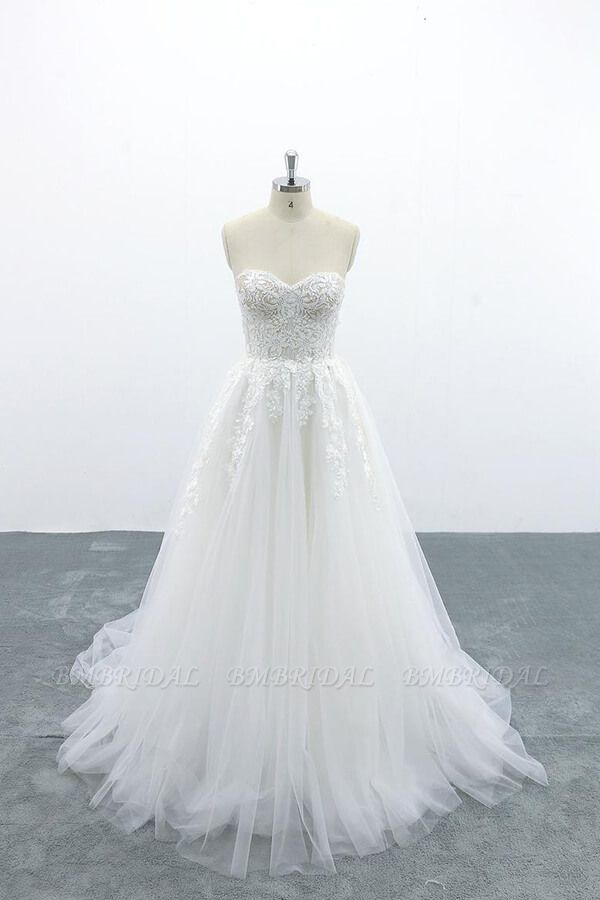 BMbridal Appliques Strapless Tulle A-line Wedding Dress On Sale