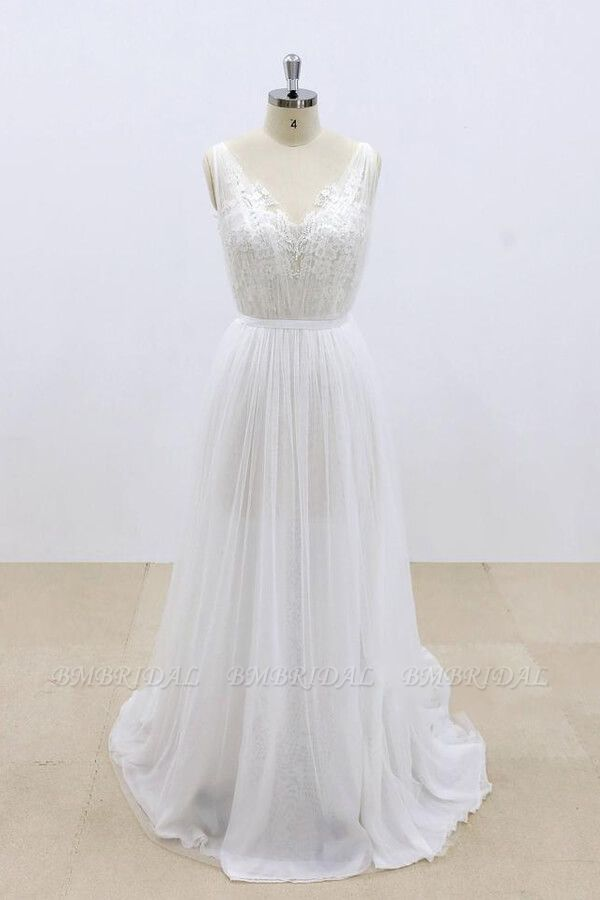 BMbridal Amazing Ruffle Tulle Appliques A-line Wedding Dress On Sale