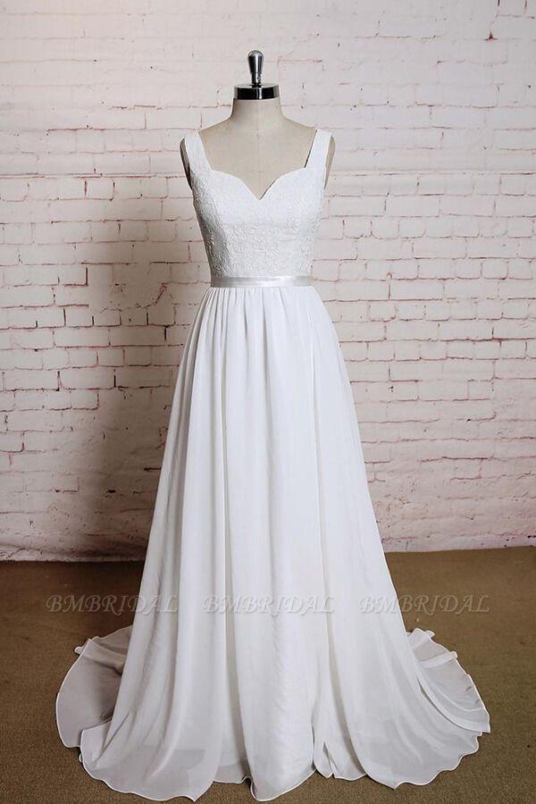 BMbridal Square Neck Lace Chiffon A-line Wedding Dress On Sale