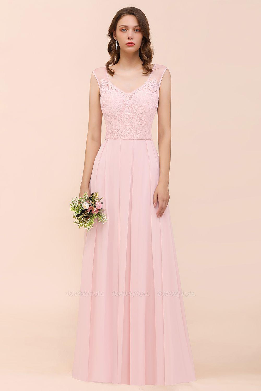 Elegant Pink Lace Straps Ruffle Affordable Bridesmaid Dress