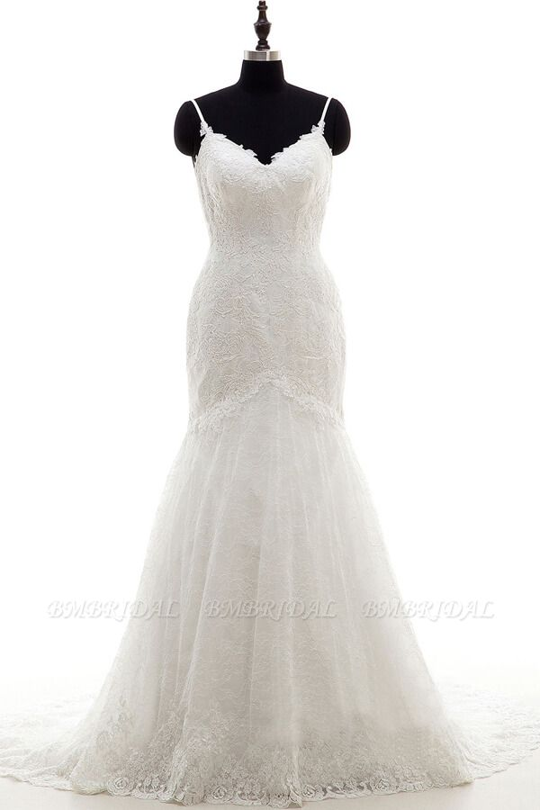 BMbridal Appliques Spaghetti Strap Mermaid Wedding Dress On Sale