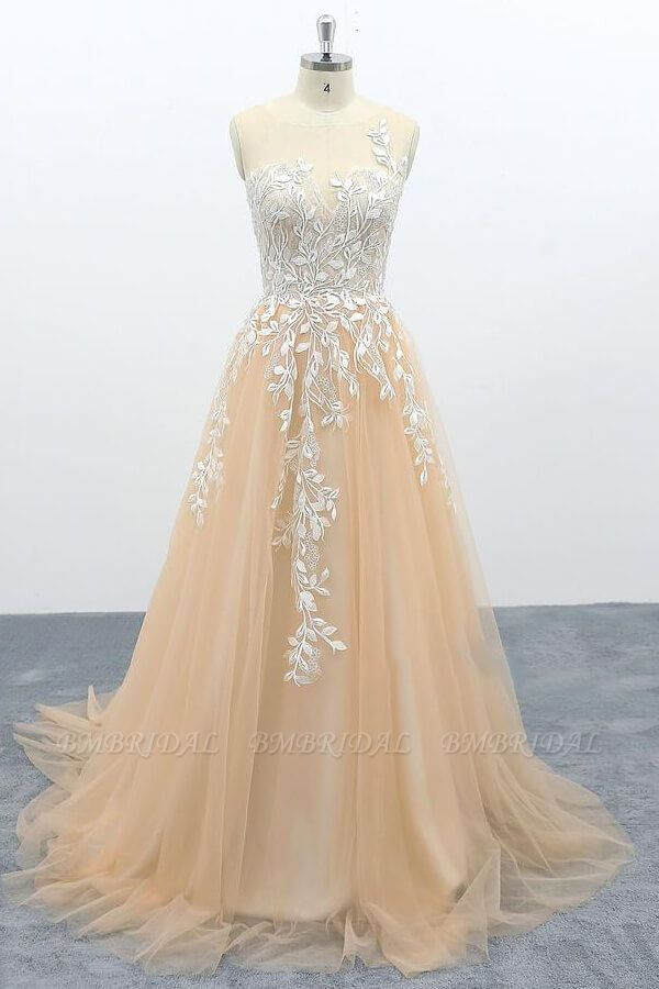 BMbridal Graceful Appliques Tulle A-line Wedding Dress On Sale