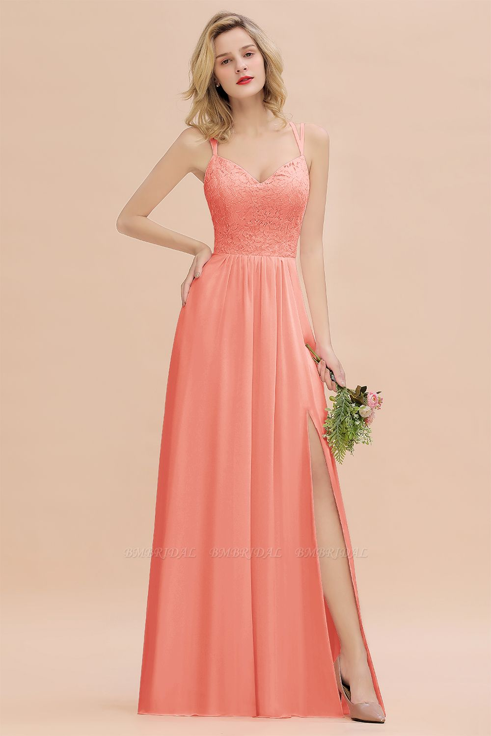Sexy Spaghetti-Straps Coral Lace Bridesmaid Dresses with Slit