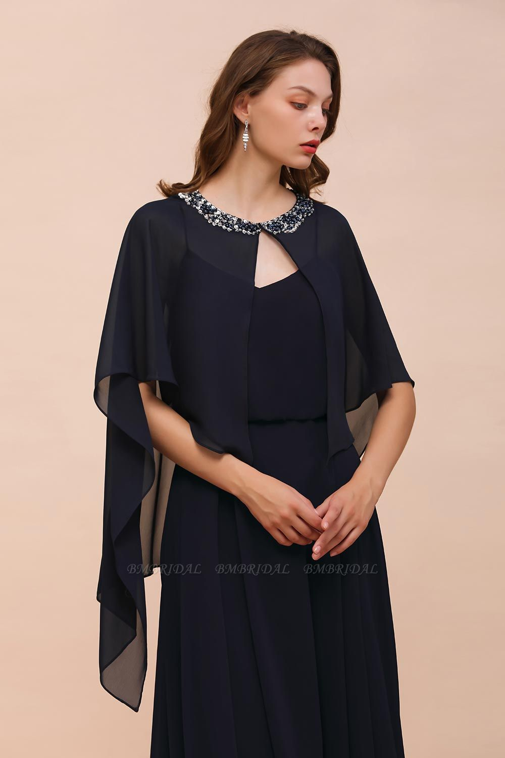 BMbridal Dark Navy Chiffon Special Occasions Wrap