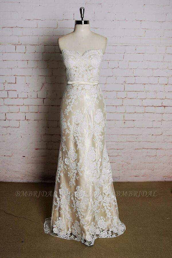 BMbridal Strapless Appliques Tulle A-line Wedding Dress On Sale