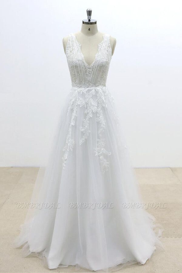 BMbridal Ruffle V-neck Appliques Tulle A-line Wedding Dress On Sale