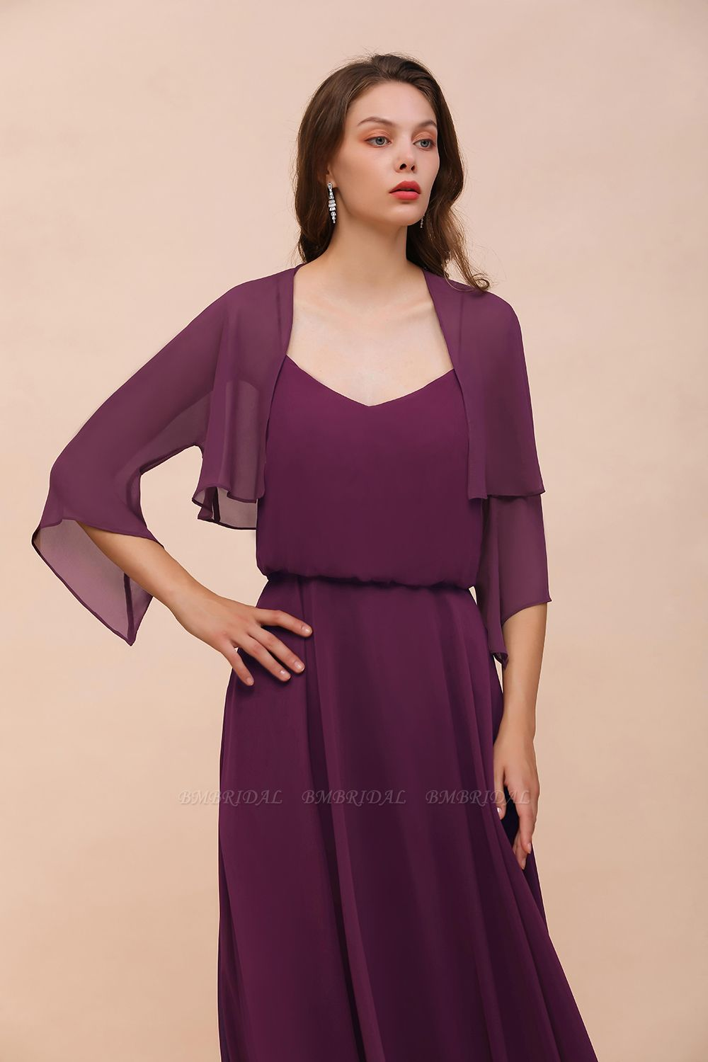 BMbridal Grape Chiffon 3/4 Sleeves Special Occasions Wrap
