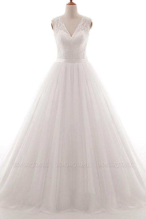BMbridal Eye-catching V-neck Tulle A-line Wedding Dress On Sale