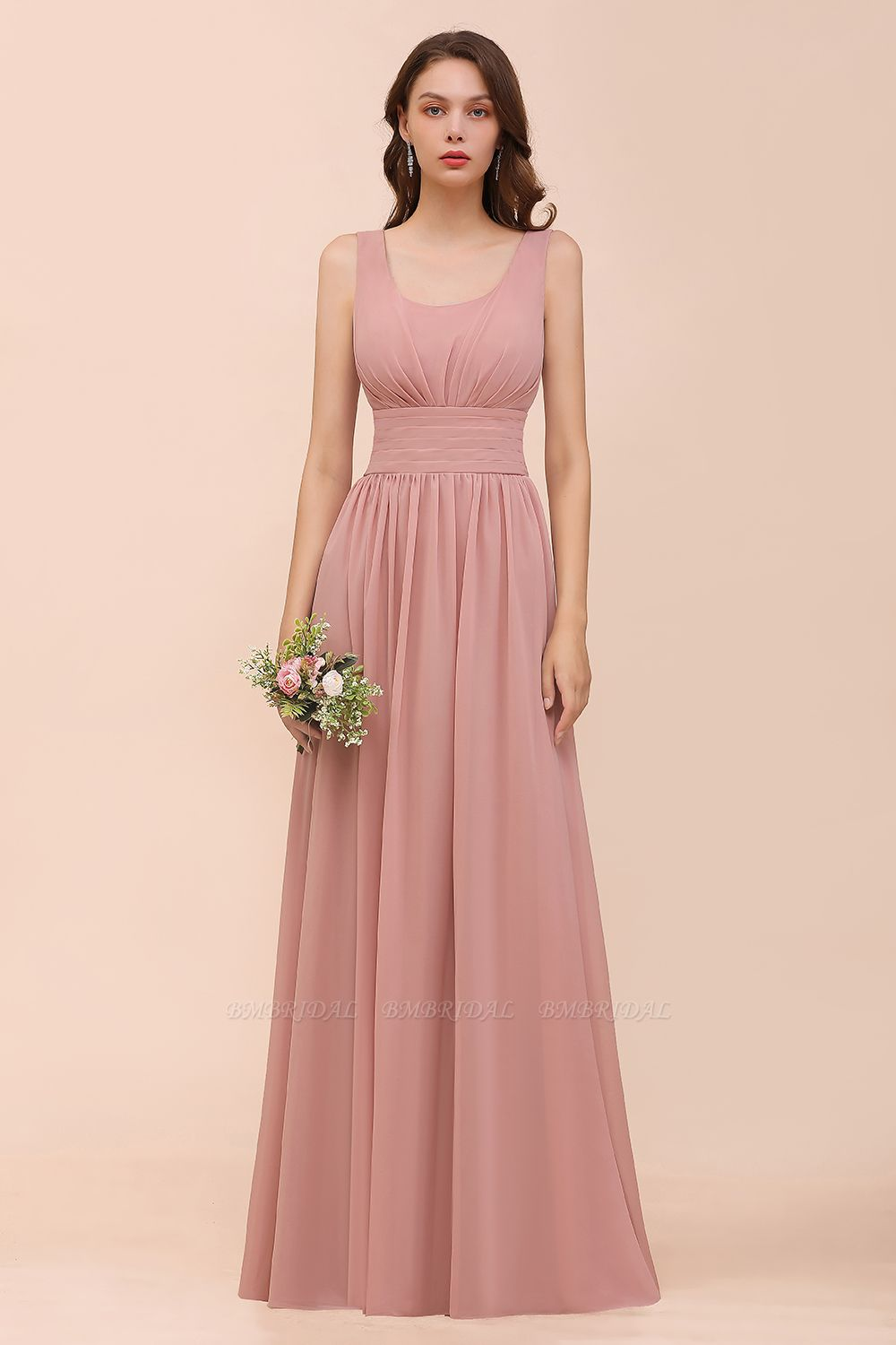 Affordable Sleeveless Ruffle Vintage Mauve Bridesmaid Dress