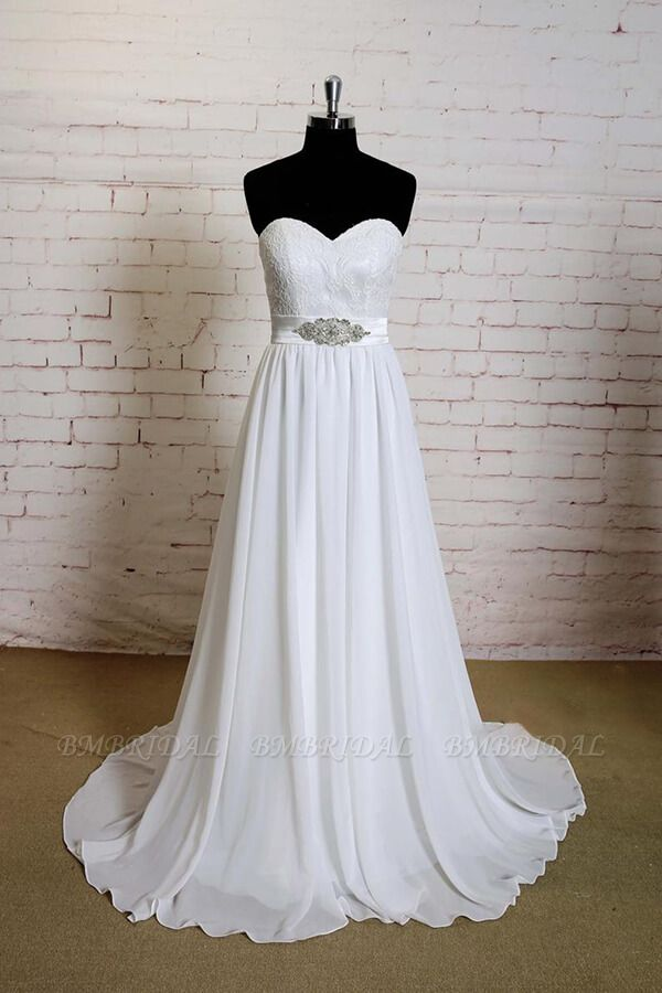 BMbridal Strapless Lace Chiffon A-line Wedding Dress On Sale