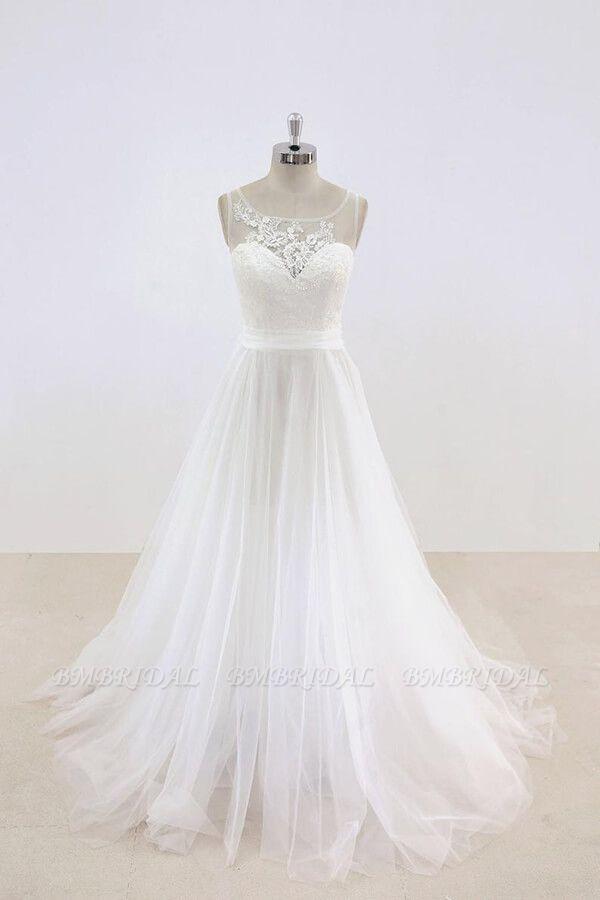 BMbridal Graceful Illusion Lace Tulle A-line Wedding Dress On Sale