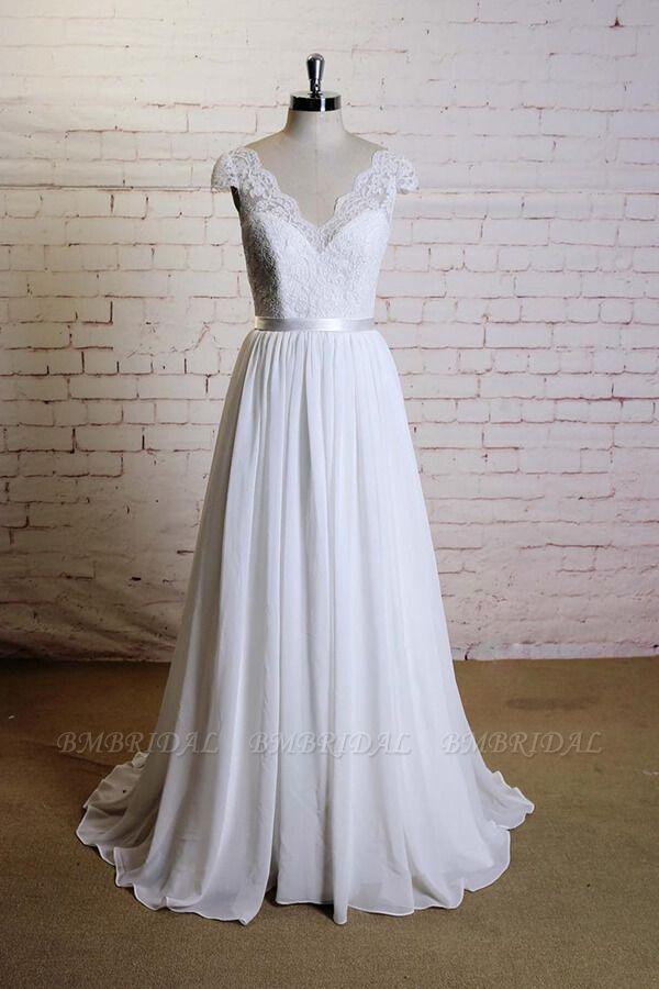 BMbridal Cap Sleeve A-line Lace Chiffon Wedding Dress On Sale