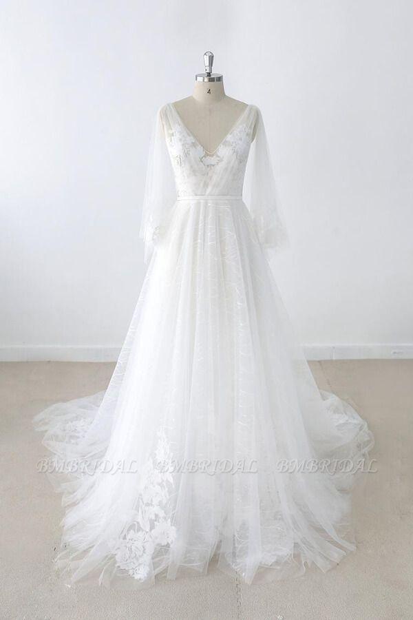 BMbridal Long Sleeve V-neck Appliques Tulle Wedding Dress On Sale