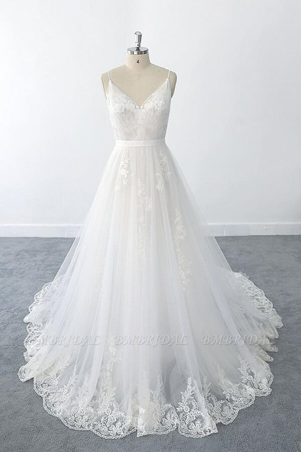 BMbridal Amazing Ruffle Appliques Tulle A-line Wedding Dress On Sale
