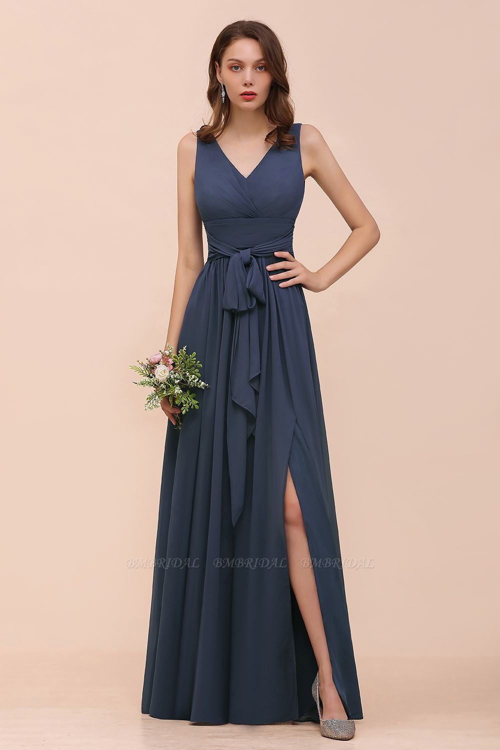 BMbridal Affordable V-Neck Chiffon Long Stormy Bridesmaid Dress With Slit