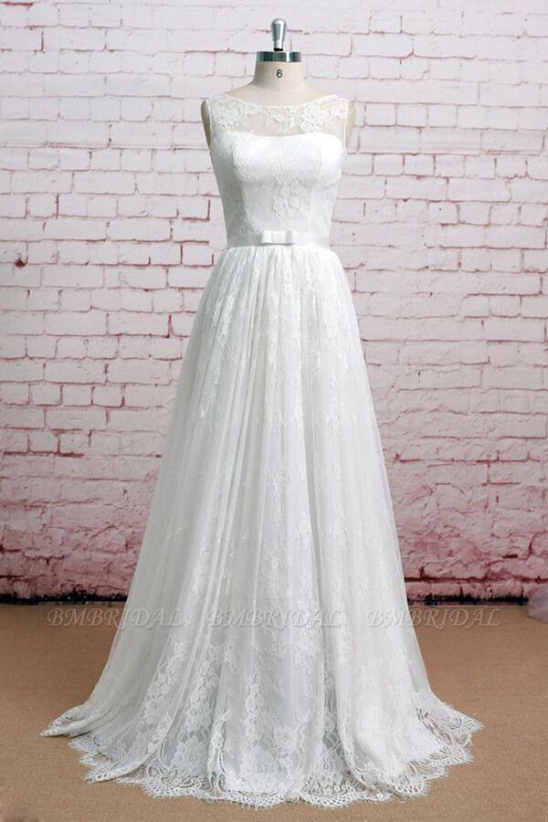BMbridal Graceful Illusion Lace A-line Wedding Dress On Sale