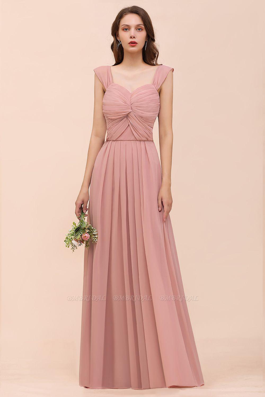 BMbridal Vintage Mauve Chiffon Straps Ruffle Affordable Bridesmaid Dress