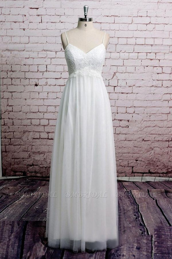 BMbridal Empire Spaghetti Strap Lace Tulle Wedding Dress On Sale
