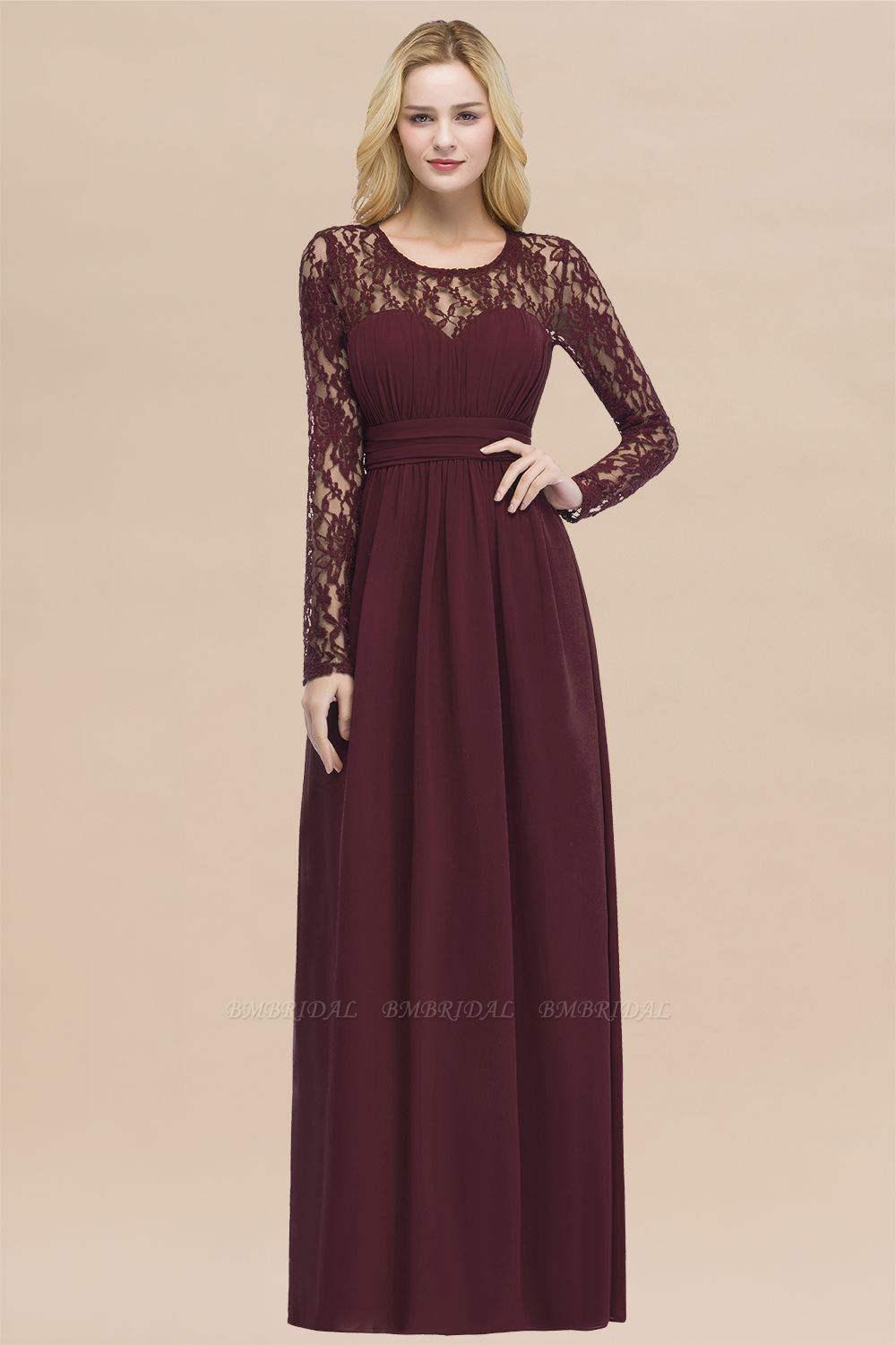 Elegant Lace Burgundy Bridesmaid Dresses Online with Long Sleeves