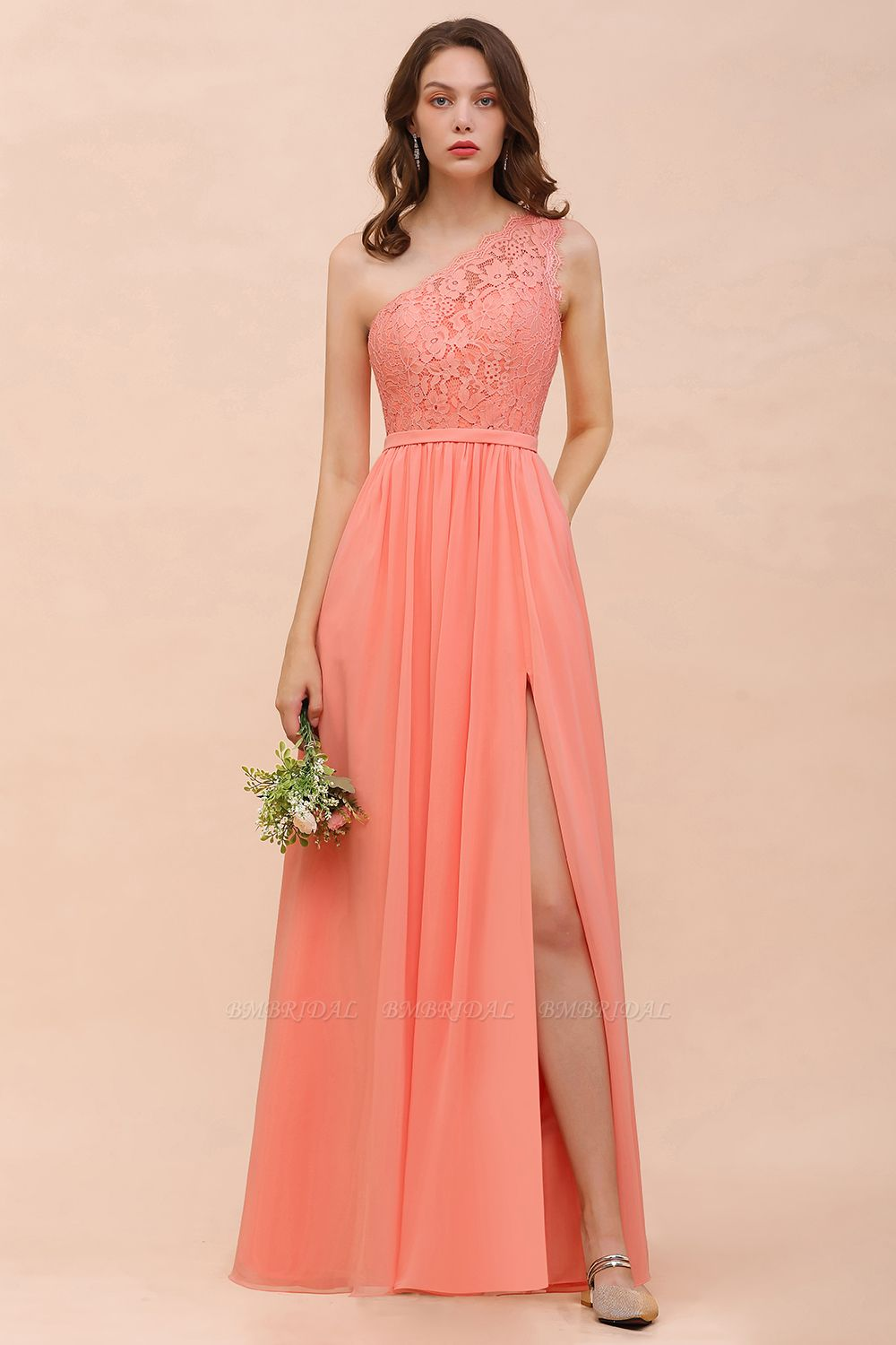 Gorgeous One Shoulder Slit Coral Chiffon Bridesmaid Dresses with Lace