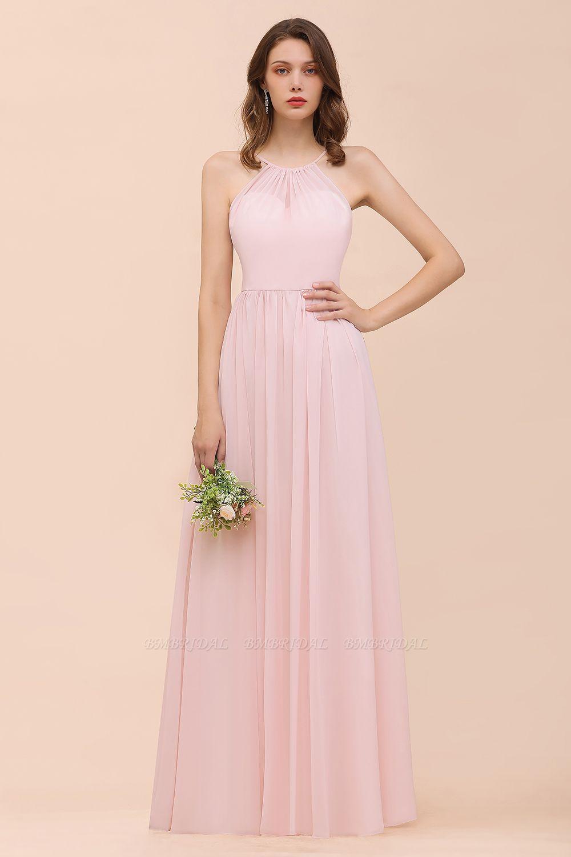Gorgeous Chiffon Halter Ruffle Affordable Long Bridesmaid Dress