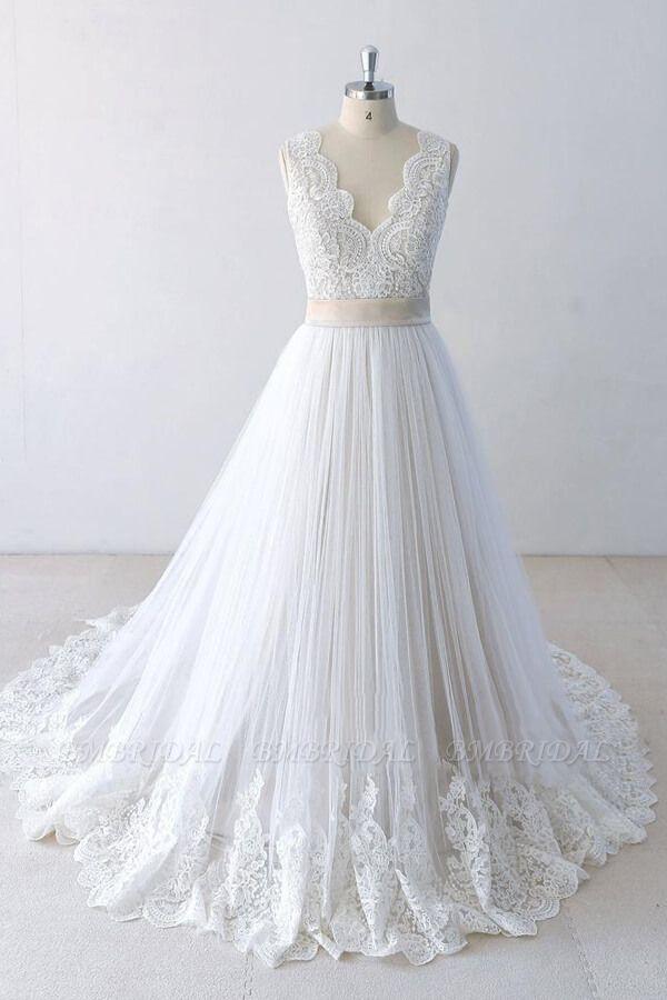 BMbridal Elegant V-neck Lace Tulle A-line Wedding Dress On Sale