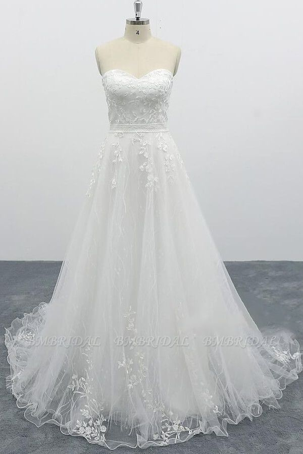 BMbridal Strapless Tulle Chapel Train A-line Wedding Dress On Sale