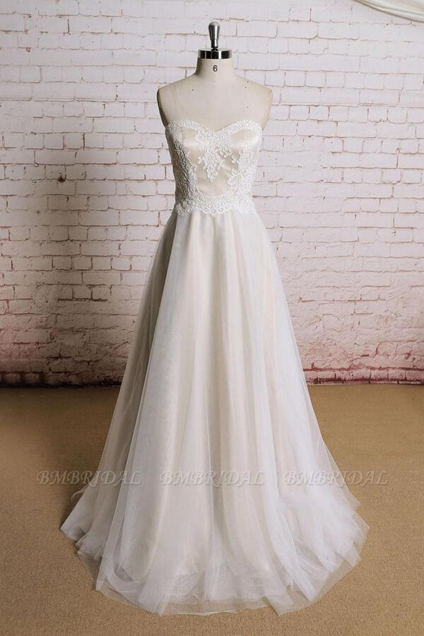 BMbridal Awesome Strapless Lace Tulle A-line Wedding Dress On Sale
