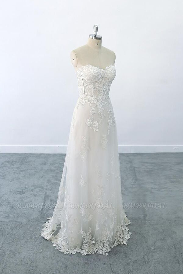BMbridal Appliques Strapless Tulle Sheath Wedding Dress On Sale