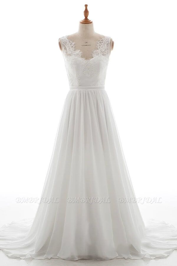 BMbridal Affordable V-neck Lace Chiffon A-line Wedding Dress On Sale
