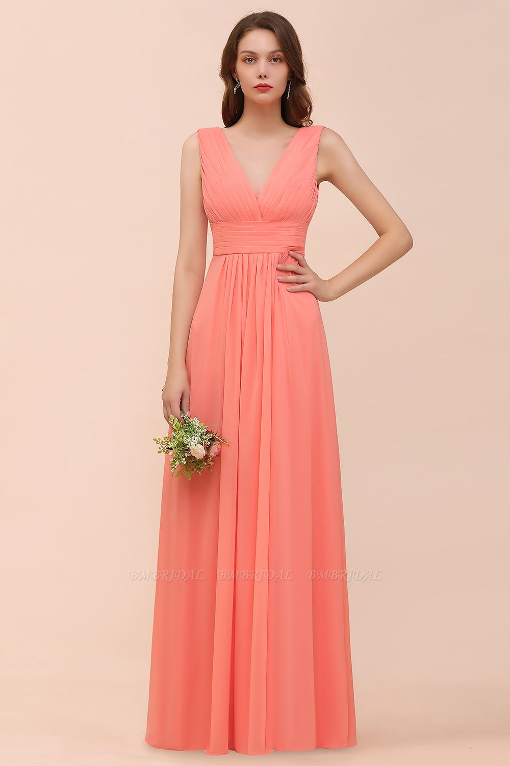 Elegant V-Neck Ruffle Coral Chiffon Cheap Bridesmaid Dresses Online