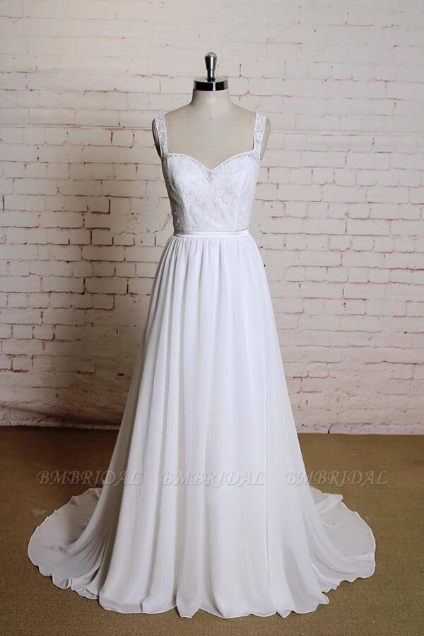 BMbridal Sweetheart Lace Chiffon A-line Wedding Dress On Sale