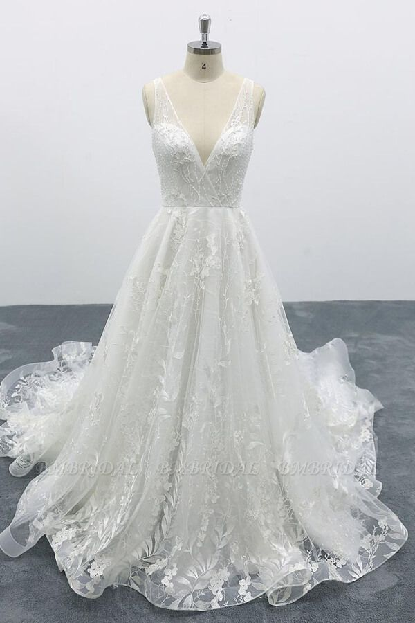BMbridal Elegant V-neck Appliques Tulle A-line Wedding Dress On Sale