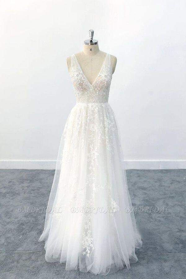 BMbridal Elegant V-neck Appliques Tulle A-line Wedding Dress On Sale