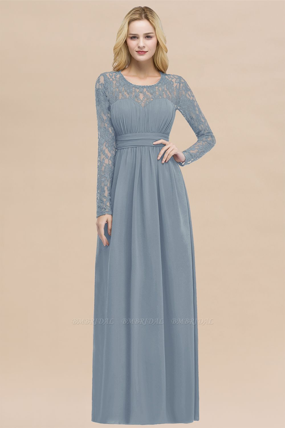 BMbridal Elegant Lace Burgundy Bridesmaid Dresses Online with Long Sleeves