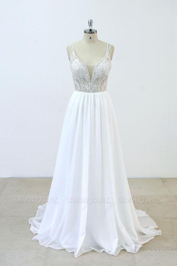 BMbridal Elegant Beading Chiffon A-line Wedding Dress On Sale