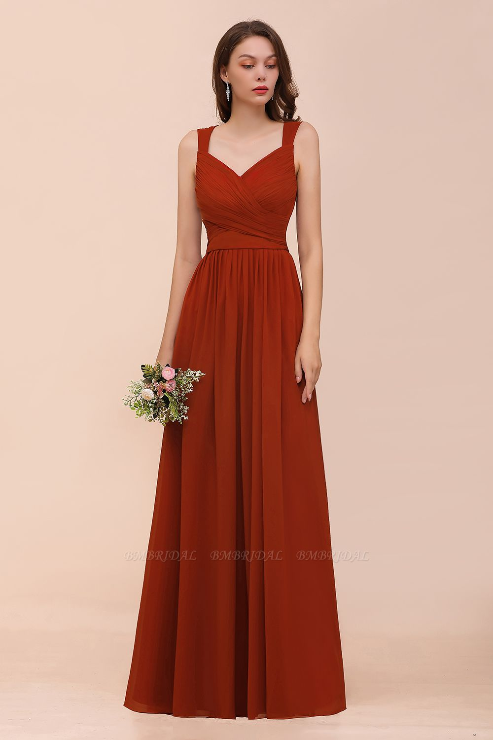 BMbridal New Arrival Gorgeous Straps Ruffle Rust Long Bridesmaid Dress