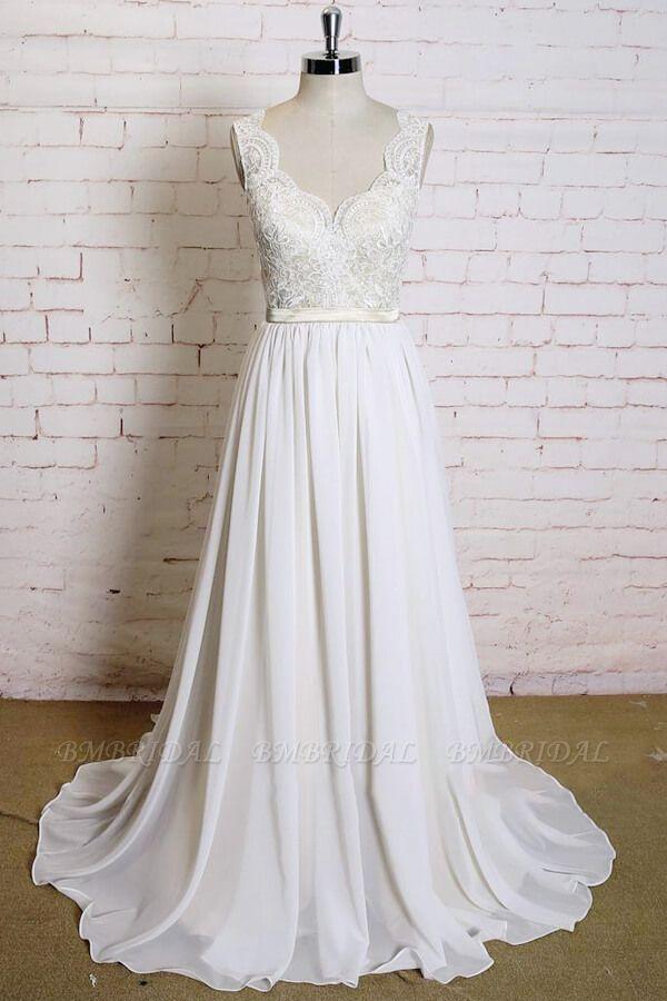 BMbridal Latest V-neck Lace Chiffon A-line Wedding Dress On Sale