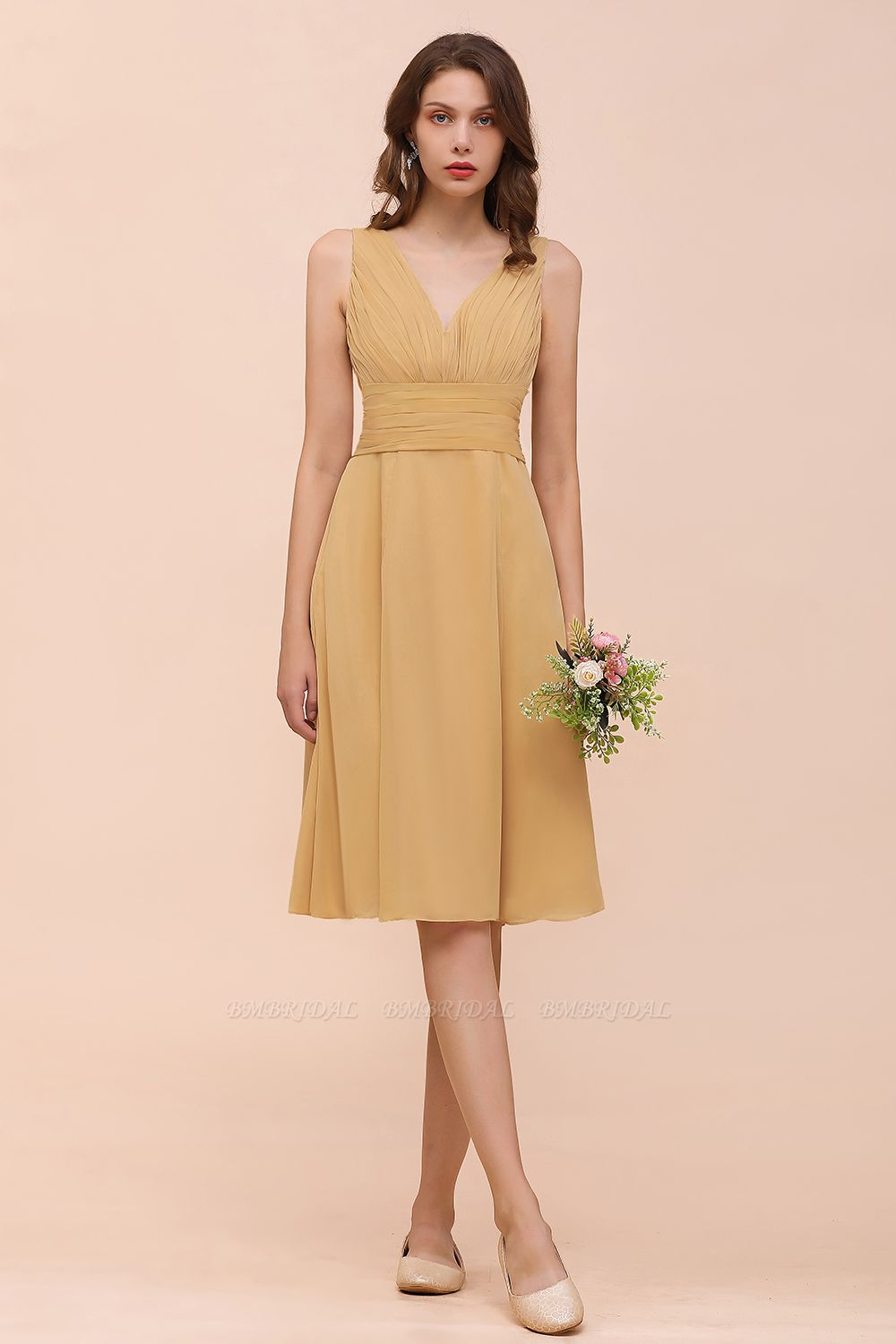 BMbridal Affordable V-Neck Ruffle Gold Short Bridesmaid Dresses with Bow