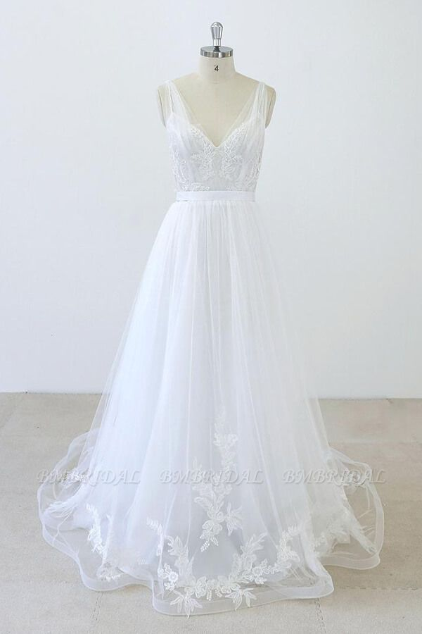 BMbridal V-neck Ruffle Applqiues Tulle A-line Wedding Dress On Sale