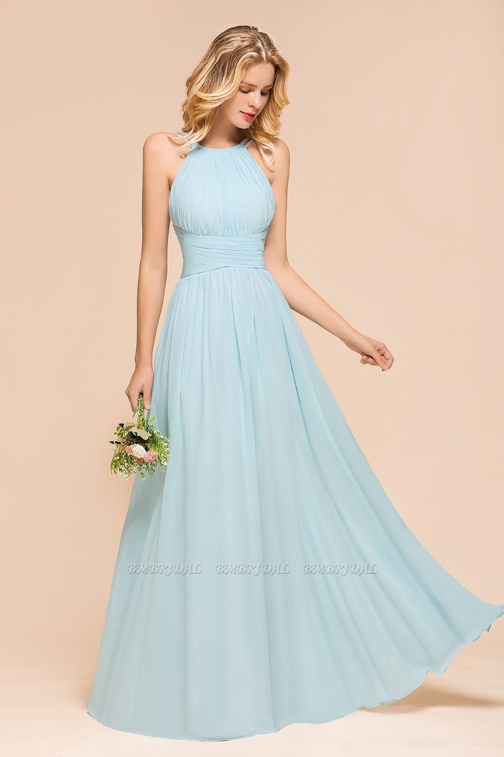 BMbridal Gorgeous Halter Ruffle Sky Blue Affordable Bridesmaid Dress