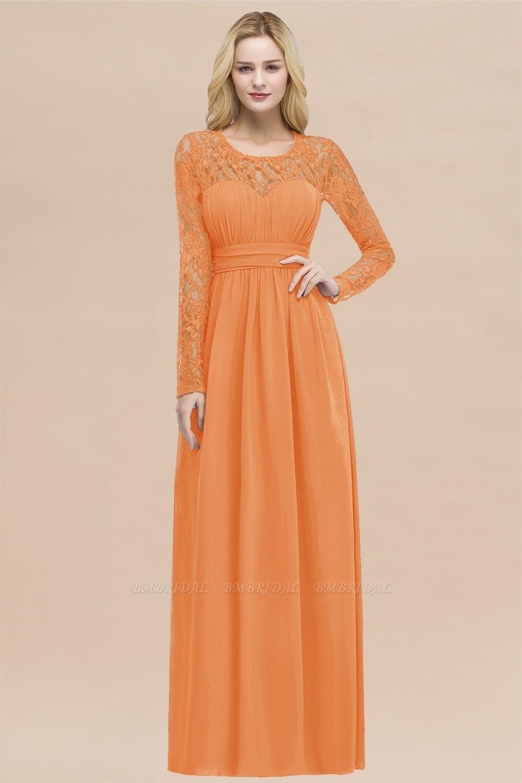 Elegant Lace Burgundy Bridesmaid Dresses Online with Long Sleeves