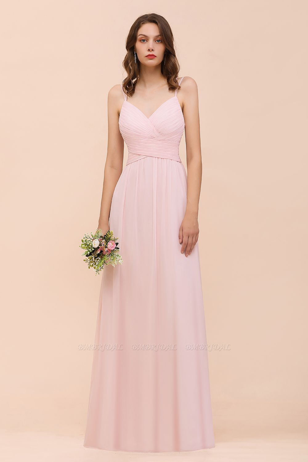 Gorgeous Chiffon Ruffle Blushing Pink Bridesmaid Dress with Spaghetti Straps