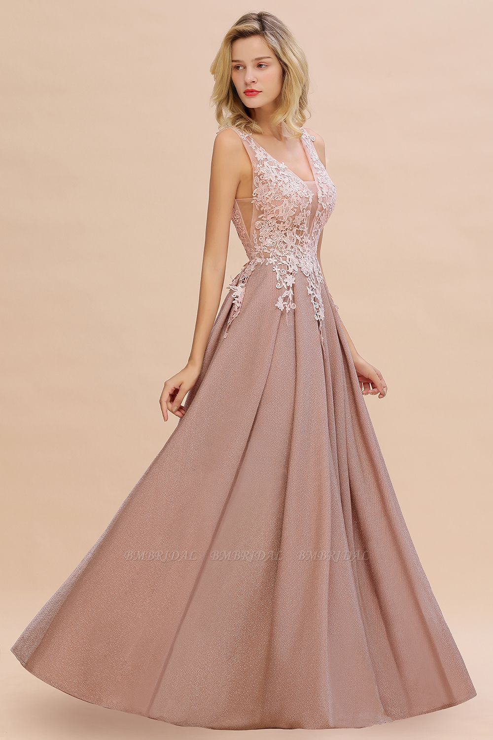 BMbridal Dusty Pink V-Neck Long Prom Dress With Lace Appliques Online