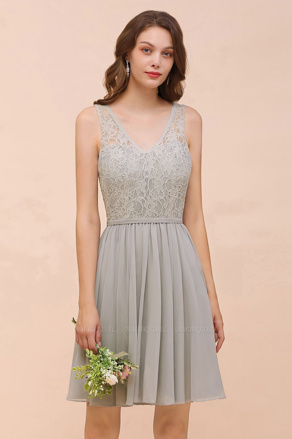 Affordable Lace V-Neck Silver Chiffon Short Bridesmaid Dress Online