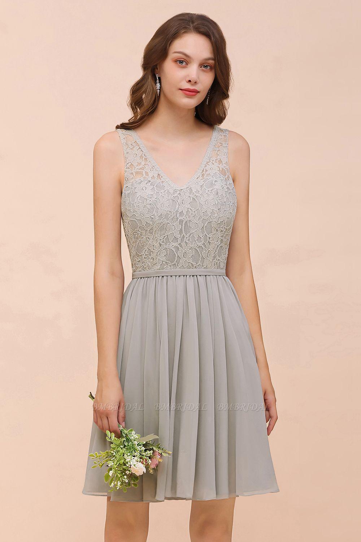 BMbridal Affordable Lace V-Neck Silver Chiffon Short Bridesmaid Dress Online