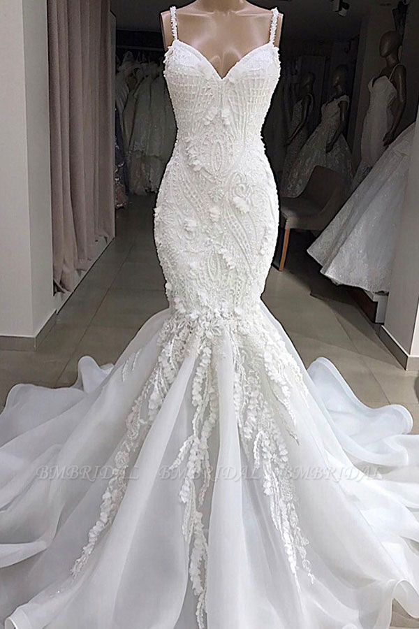 BMbridal Sexy Mermaid Spaghetti Straps Ivory Wedding Dresses With Appliques Tulle Lace Bridal Gowns On Sale